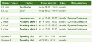 английский онлайн расписание