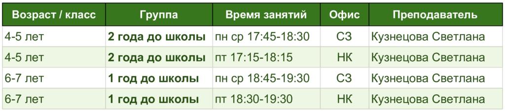 подготовка к школе расписание